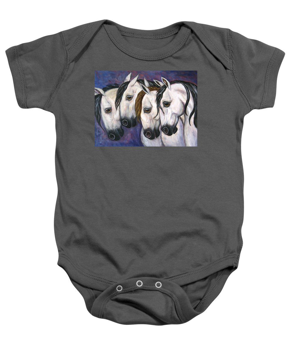 Horse Painting Baby Onesie featuring the painting Purple Haze by Frances Gillotti