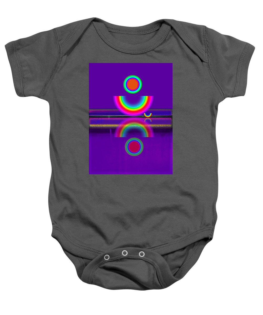 Reflections Baby Onesie featuring the painting Purple Moon by Charles Stuart