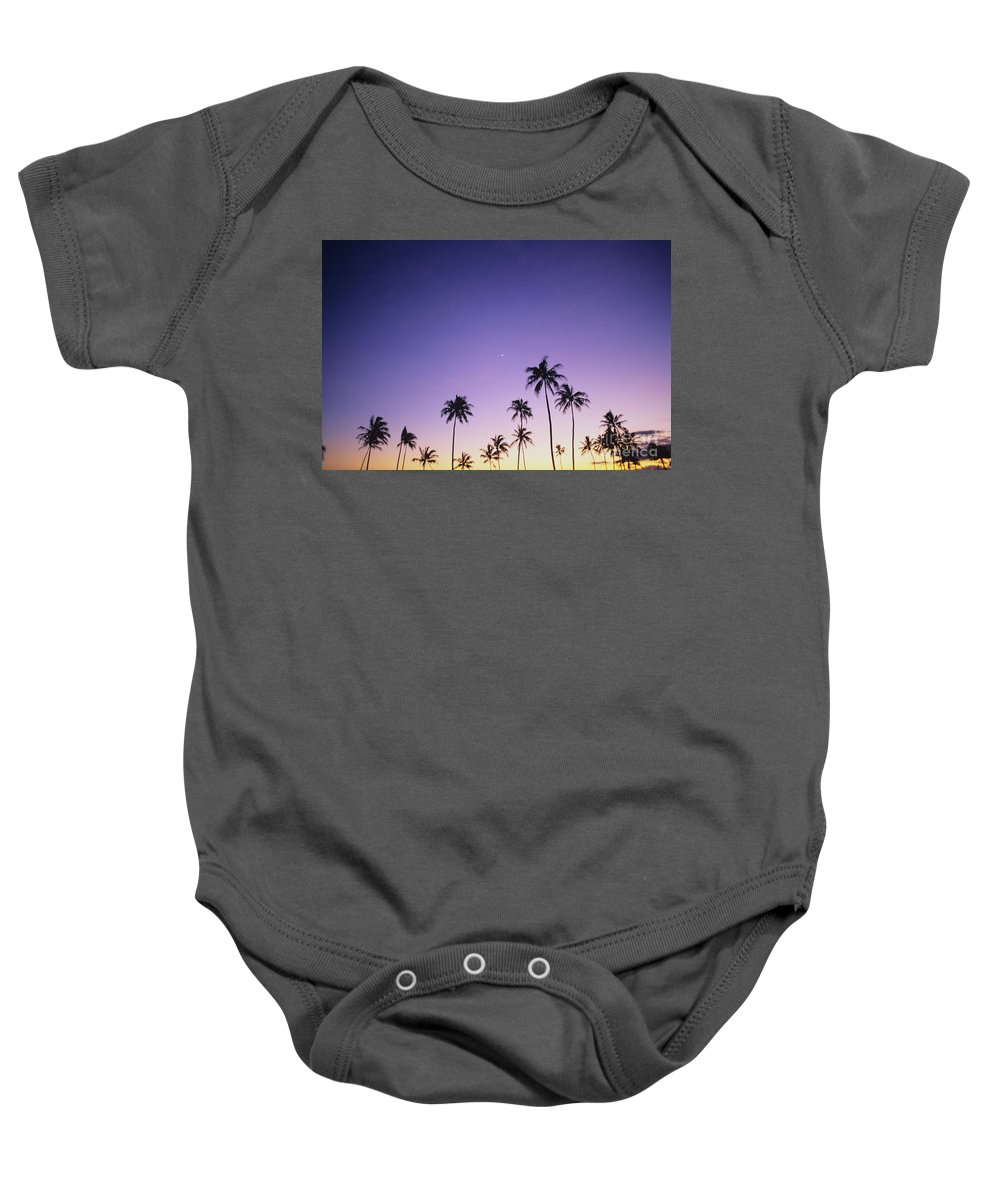 Beautiful Baby Onesie featuring the photograph Purple Sky Palms by Peter French - Printscapes