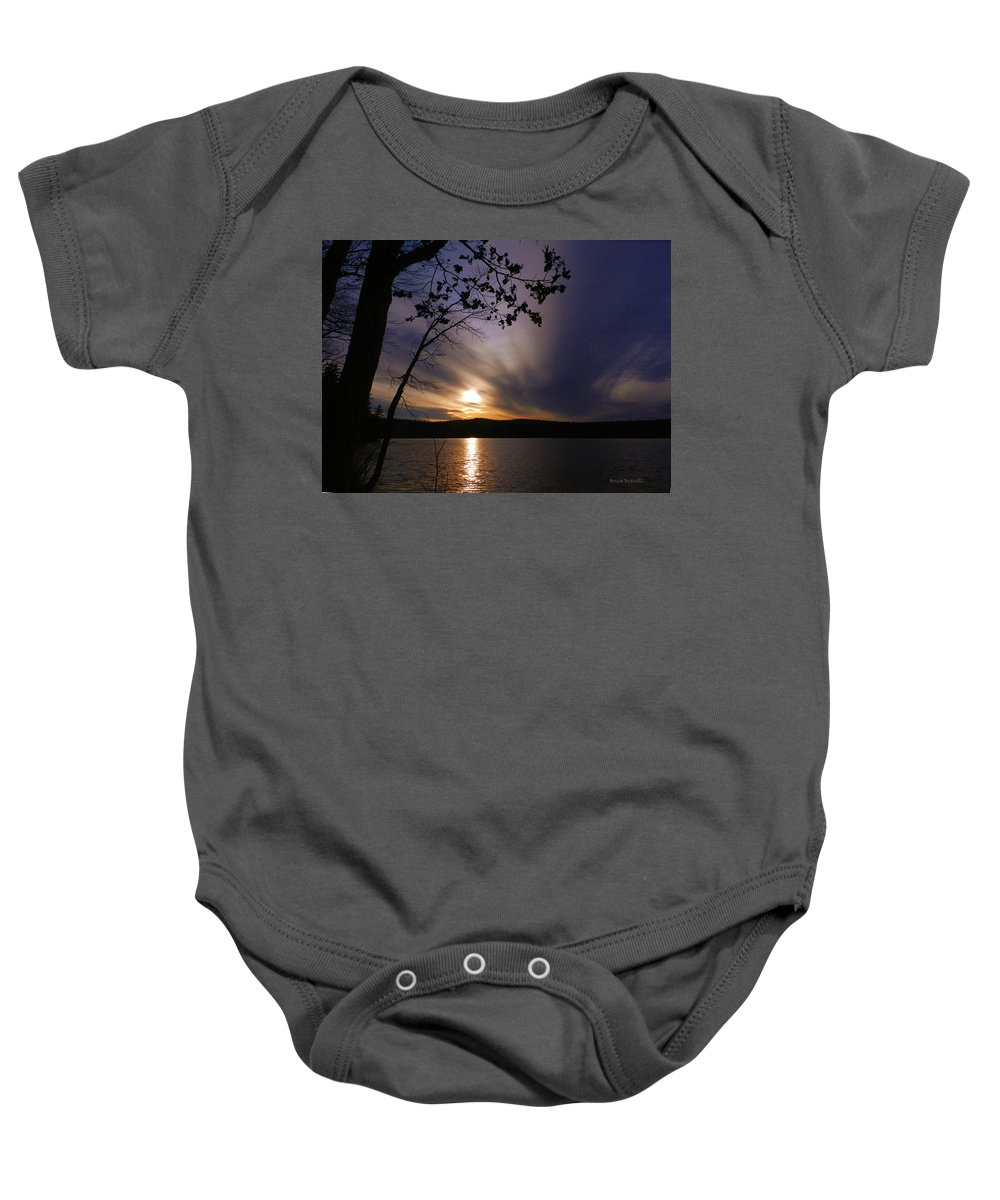 New Hampshire Baby Onesie featuring the photograph Purple Sunset by Bruce Brandli