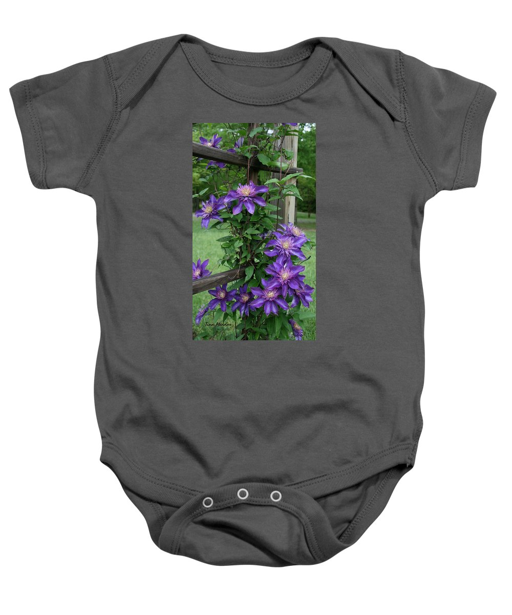 Purple Baby Onesie featuring the photograph Purple by Tina Meador