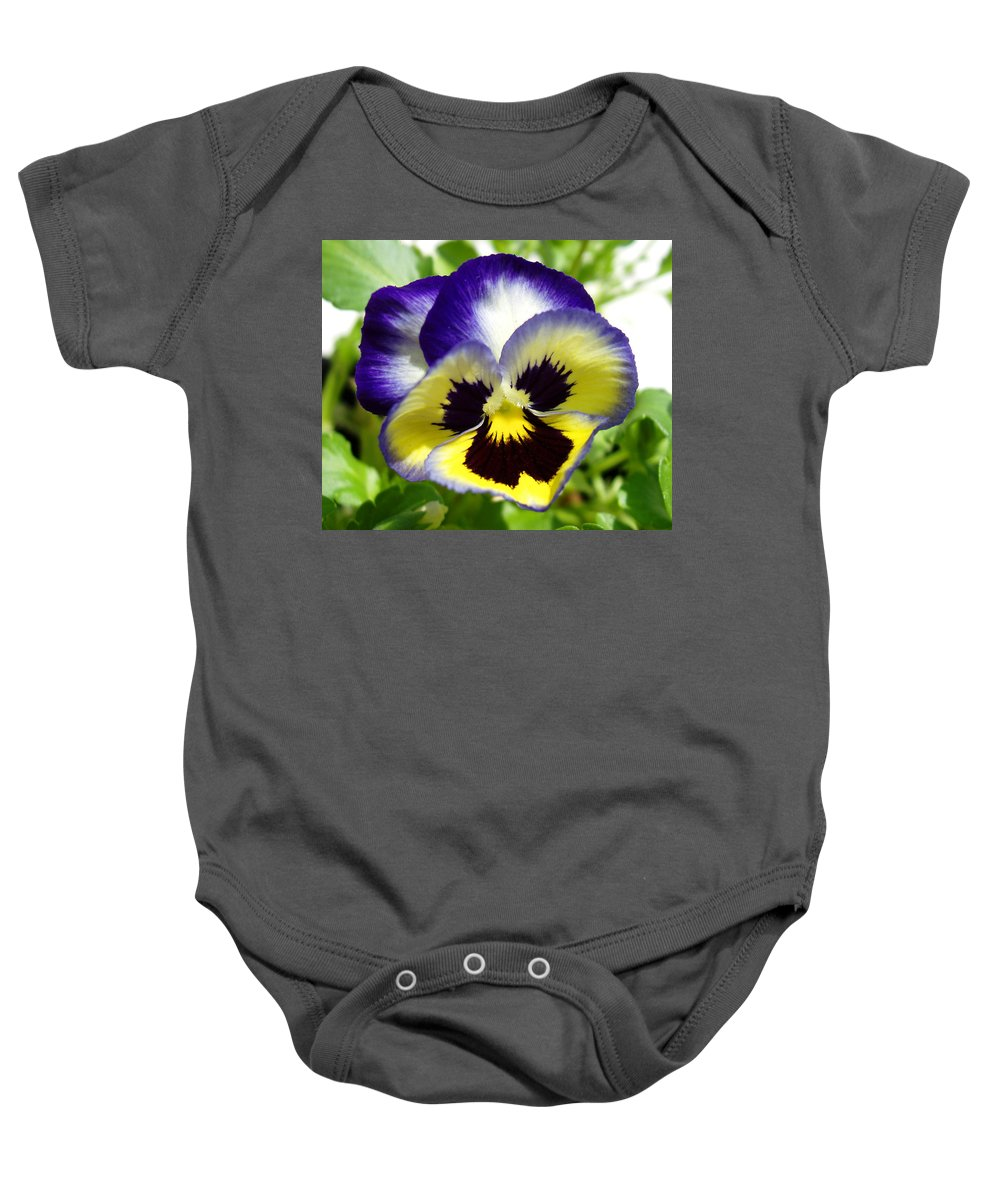 Pansy Baby Onesie featuring the photograph Purple White and Yellow Pansy by Nancy Mueller