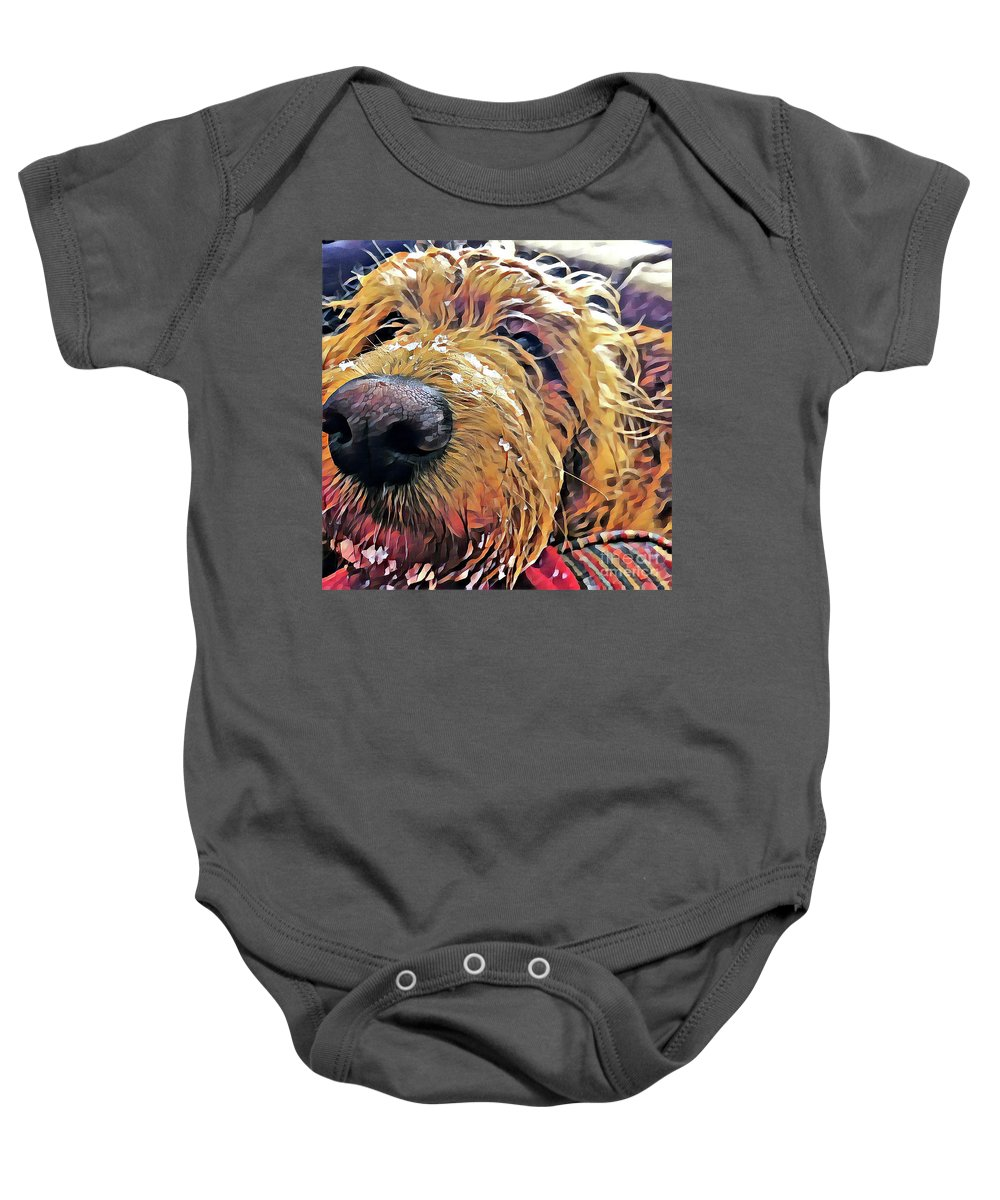 Puppy Baby Onesie featuring the photograph Puppy Wants To Cuddle by Christine Segalas