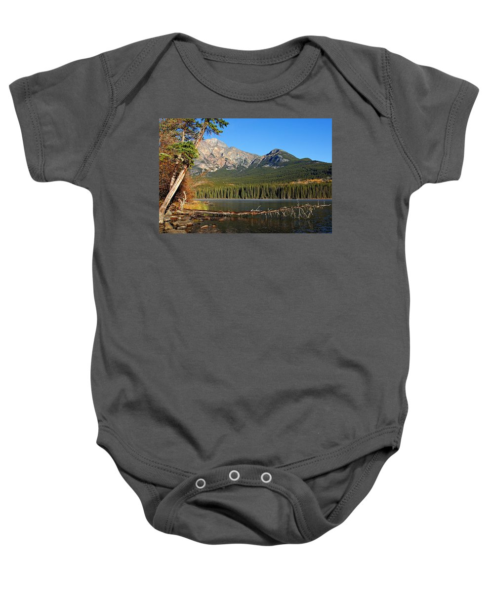 Pyramid Mountain Baby Onesie featuring the photograph Pyramid Mountain In The Morning by Larry Ricker