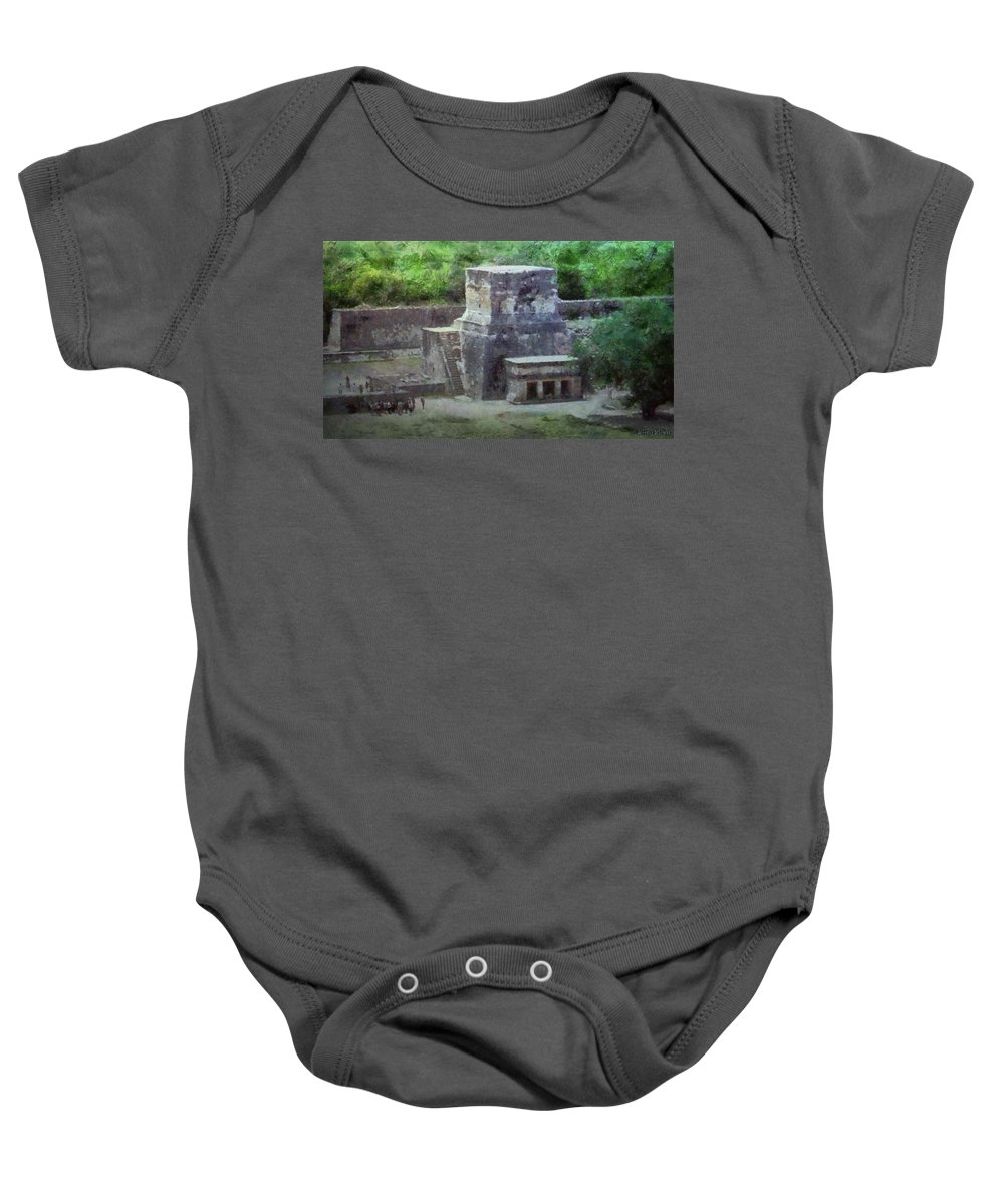 Yucatan Baby Onesie featuring the painting Pyramid View by Jeffrey Kolker
