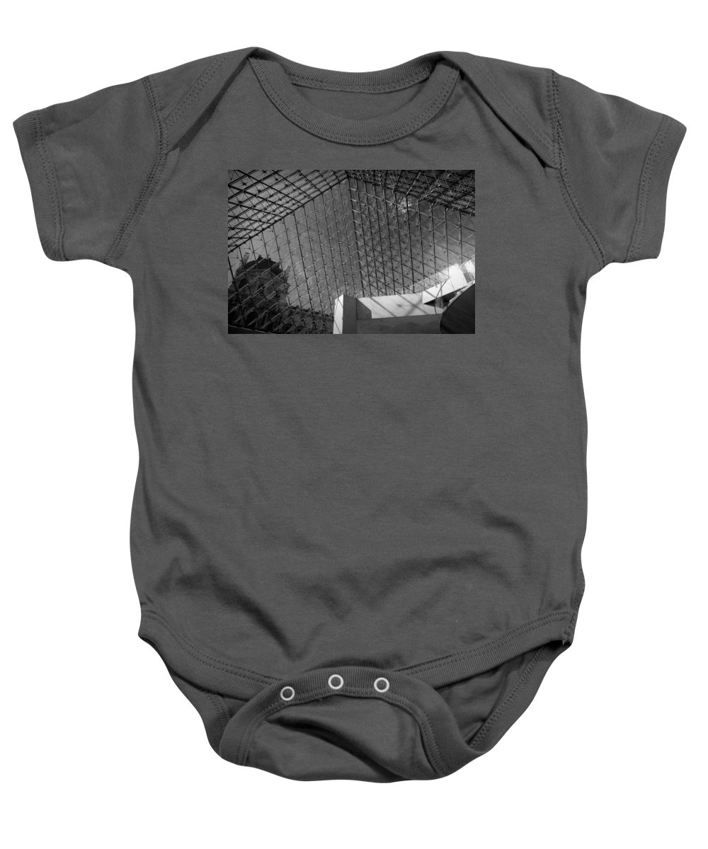 Architecture Baby Onesie featuring the photograph Pyramide Du Louvre by Sebastian Musial