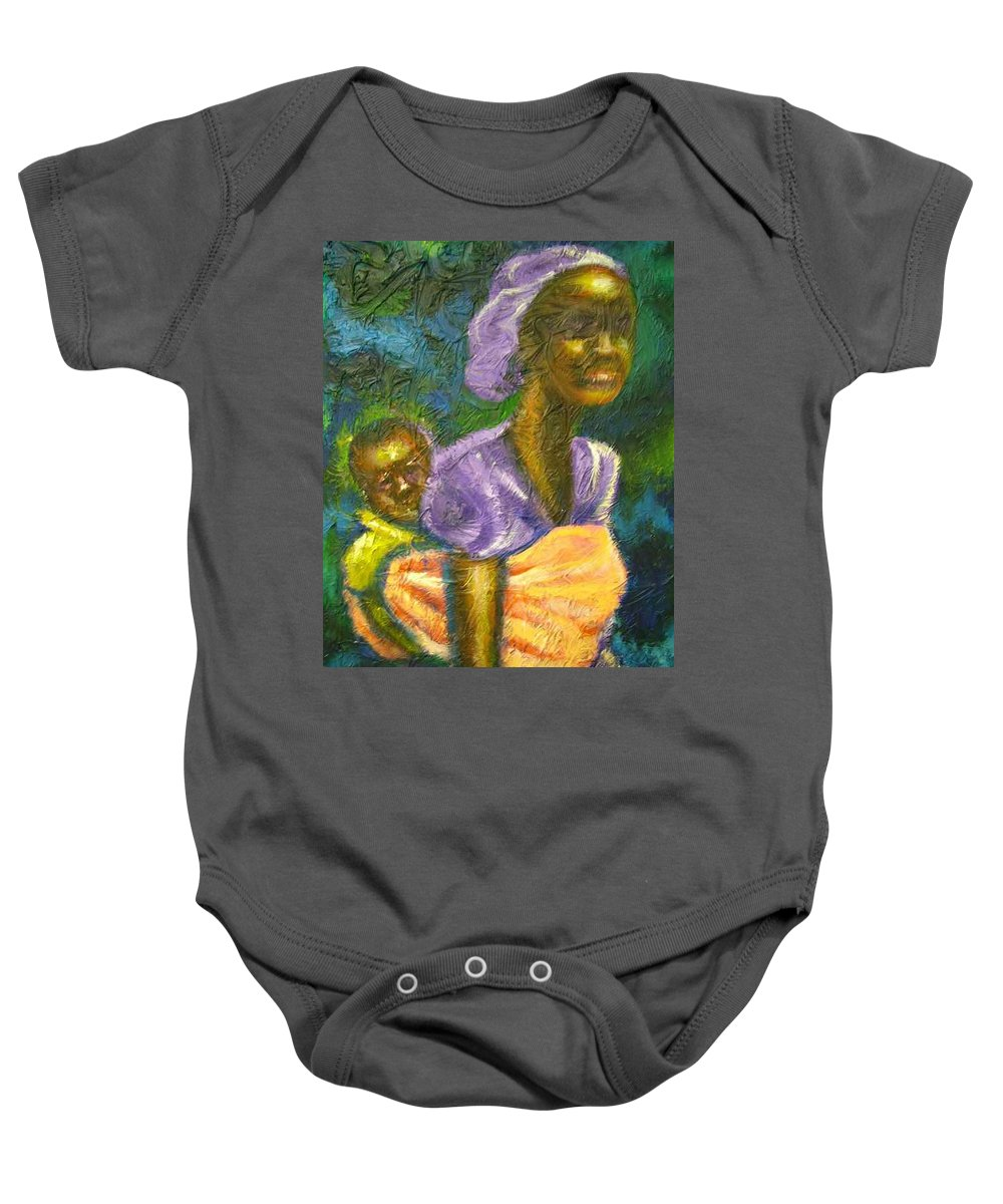 Mother And Child Baby Onesie featuring the painting Safe And Secure by Jan Gilmore
