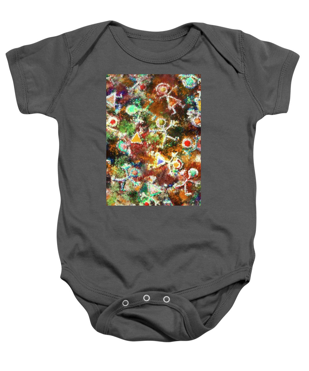 Inspirational Baby Onesie featuring the painting Quantum Humans by Miko At The Love Art Shop