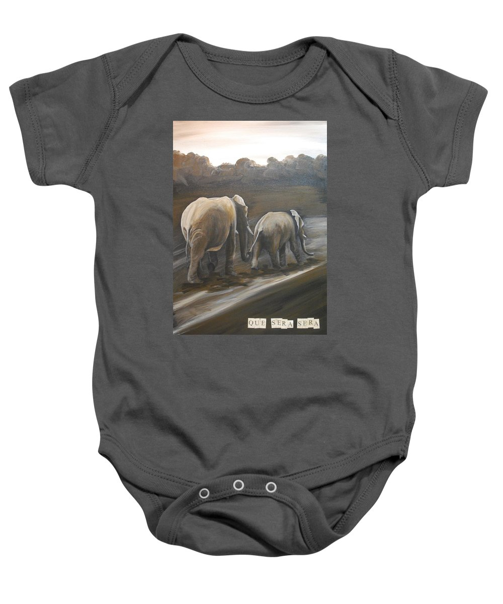 Elephant Baby Onesie featuring the painting Que Sera Sera by Emily Page