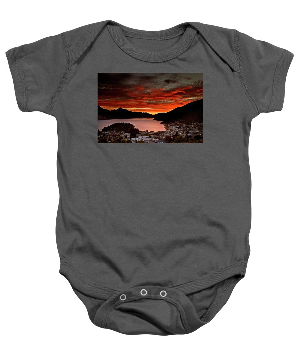 Outdoors Baby Onesie featuring the photograph Queenstown New Zealand Sunset by Mark Duffy