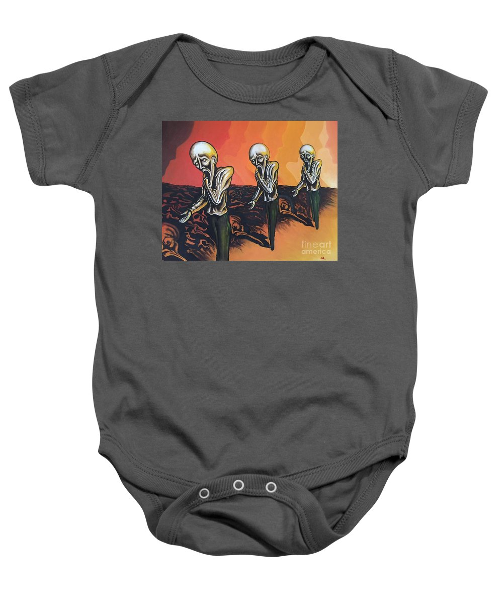 Tmad Baby Onesie featuring the painting Question To Wonder by Michael TMAD Finney