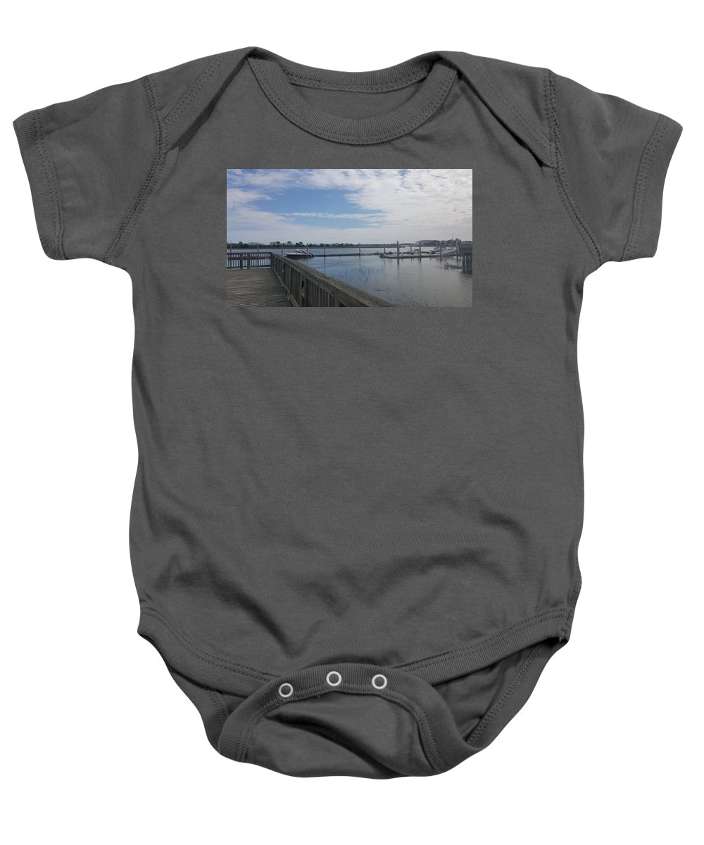 River Baby Onesie featuring the photograph Quiet Docks by McCall Chase