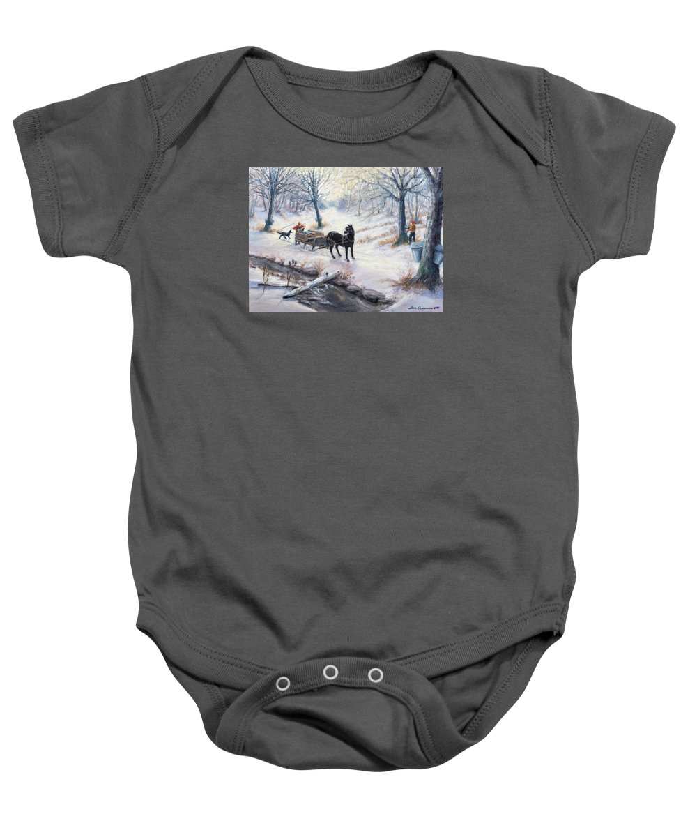 Wooded Scene During Maple Sap Season Baby Onesie featuring the painting Quiet In The Woods by Steven Assmann