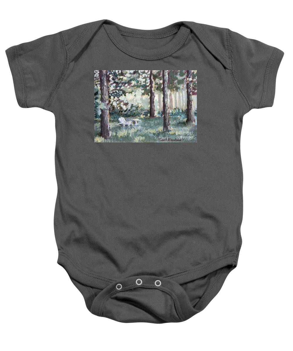 Landscape Baby Onesie featuring the painting Quiet Place by Todd A Blanchard