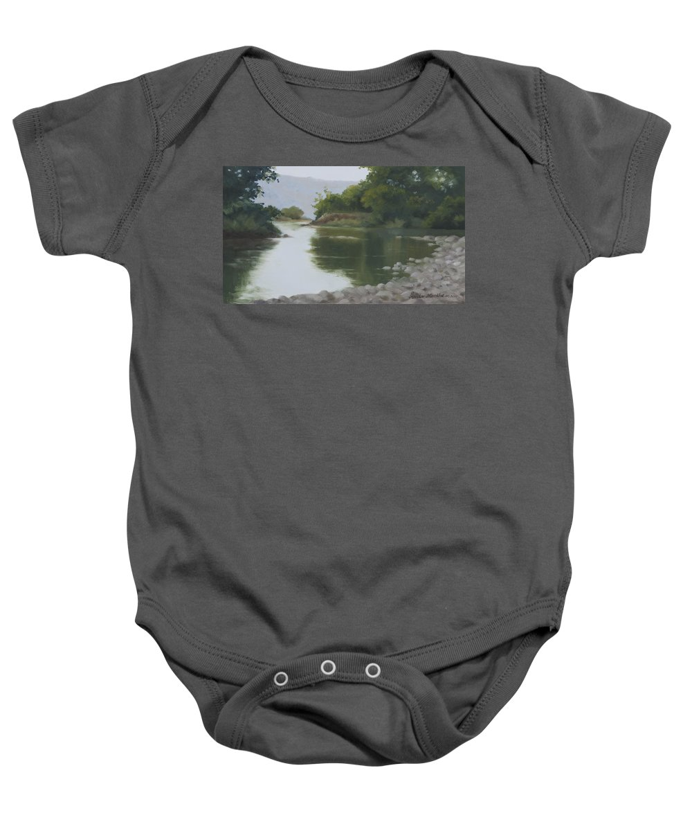 Quiet Baby Onesie featuring the painting Quiet Reflection by Mandar Marathe