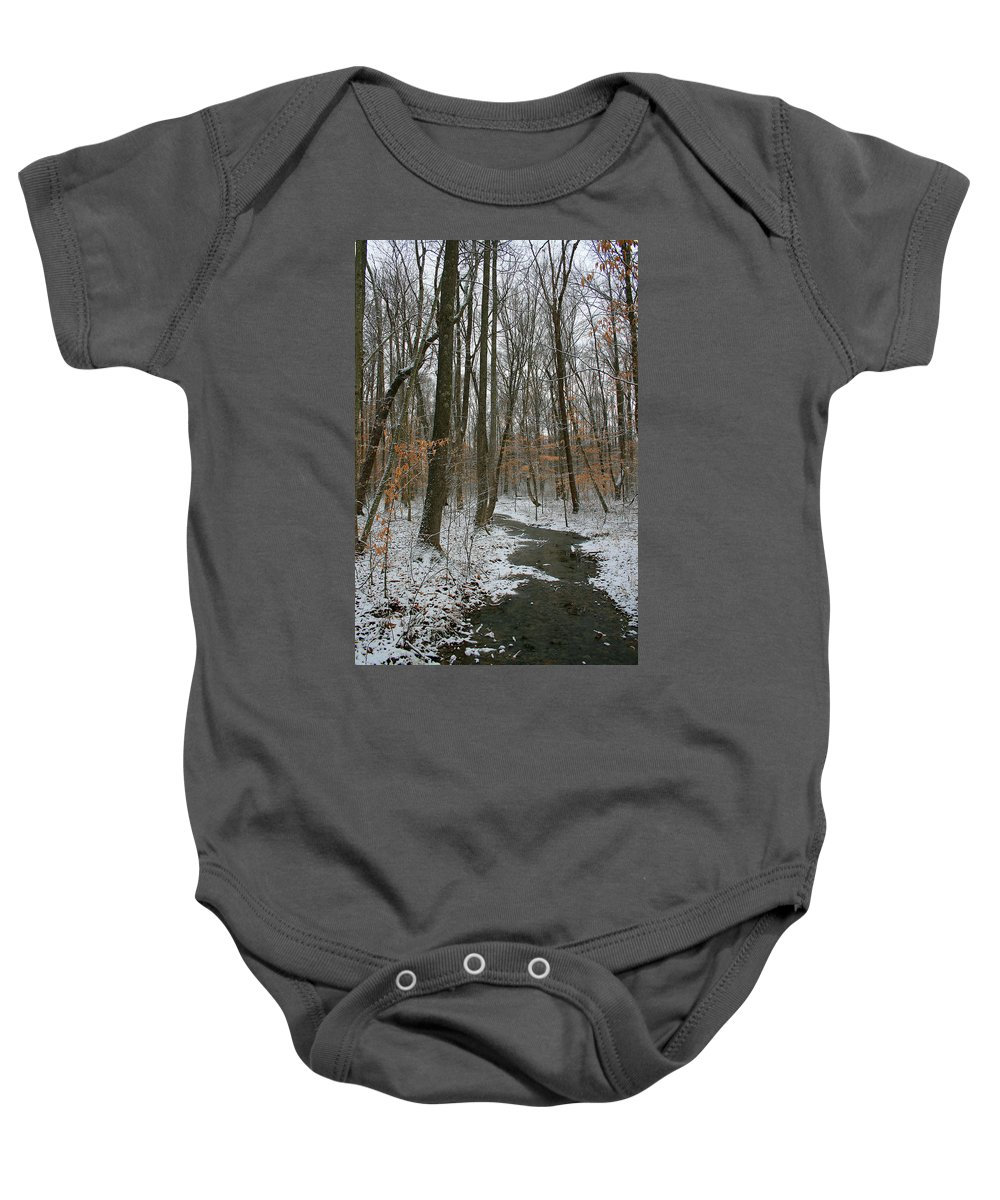 Forest Woods Water Winter Tree Snow Cold Season Nature Baby Onesie featuring the photograph Quite Path by Andrei Shliakhau