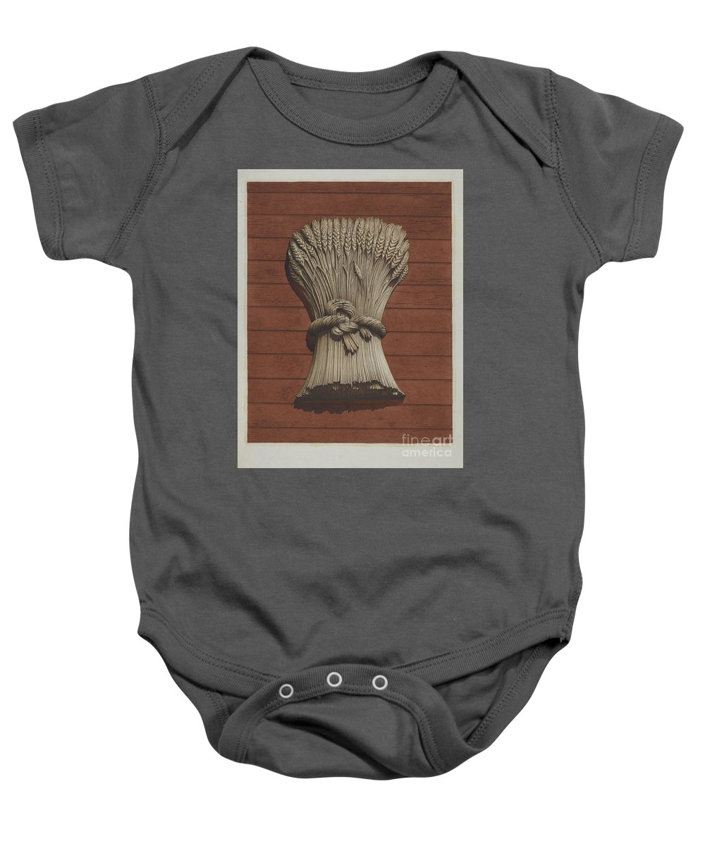 """Baby Onesie featuring the drawing """"sheaf Of Wheat"""" Shop Sign by Robert Pohle"""