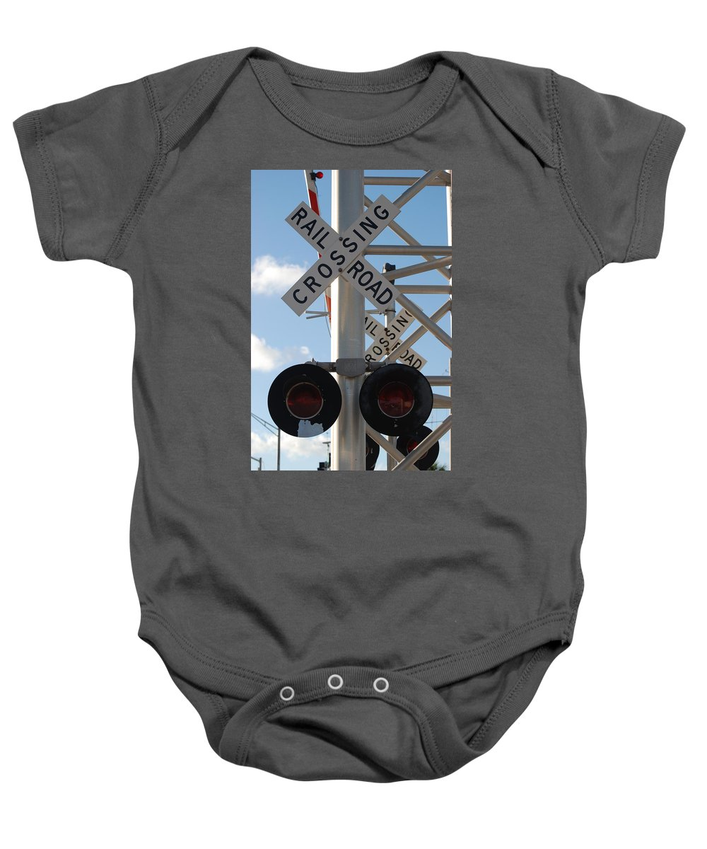 Train Baby Onesie featuring the photograph R X R Crossing by Rob Hans