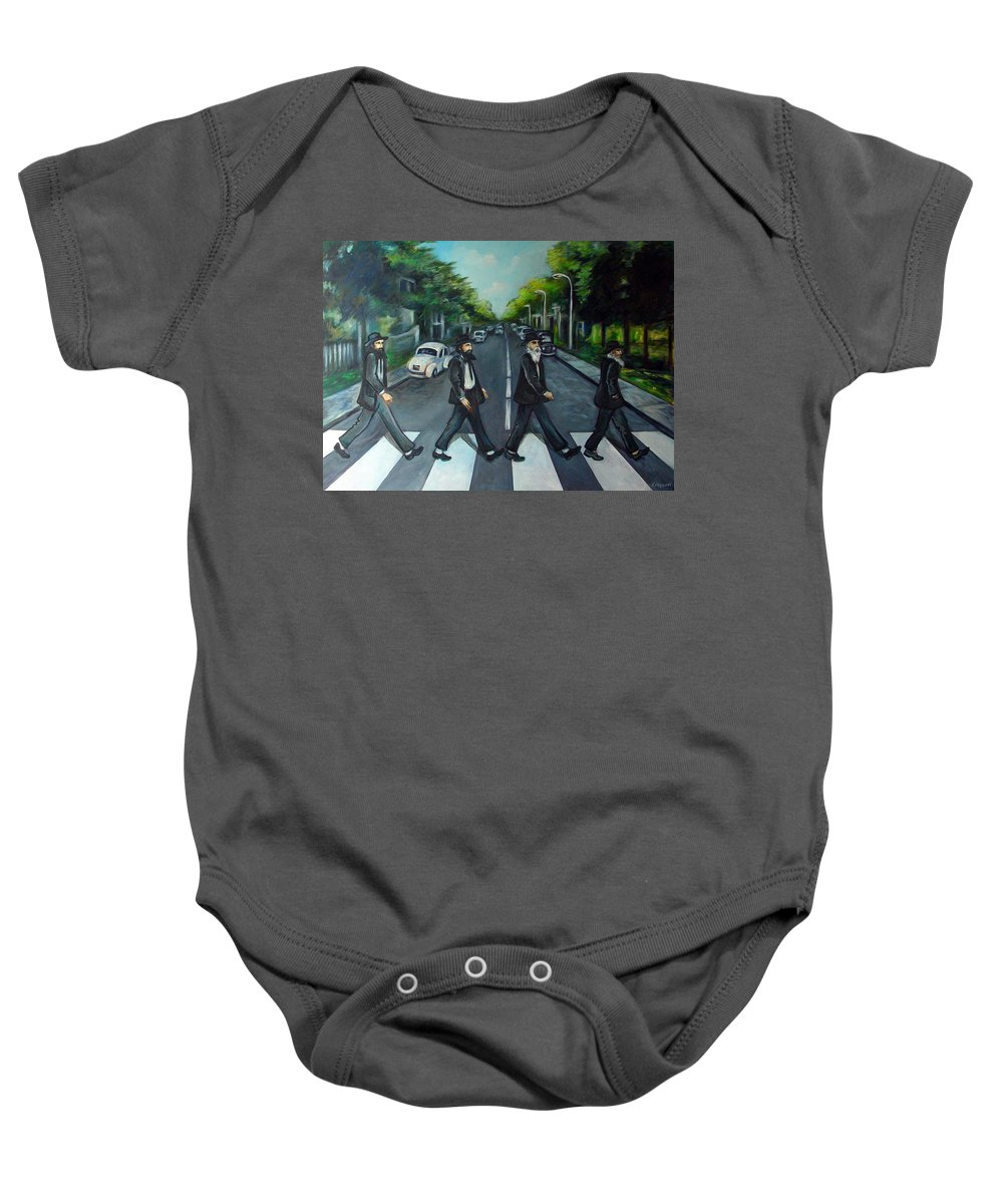 Surreal Baby Onesie featuring the painting Rabbi Road by Valerie Vescovi