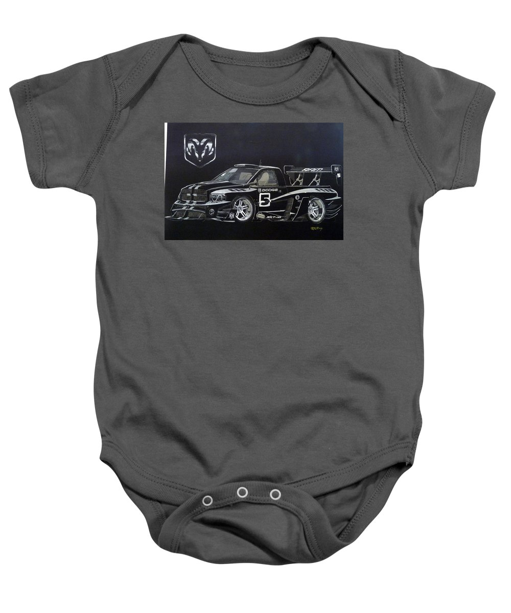 Truck Baby Onesie featuring the painting Racing Dodge Pickup by Richard Le Page
