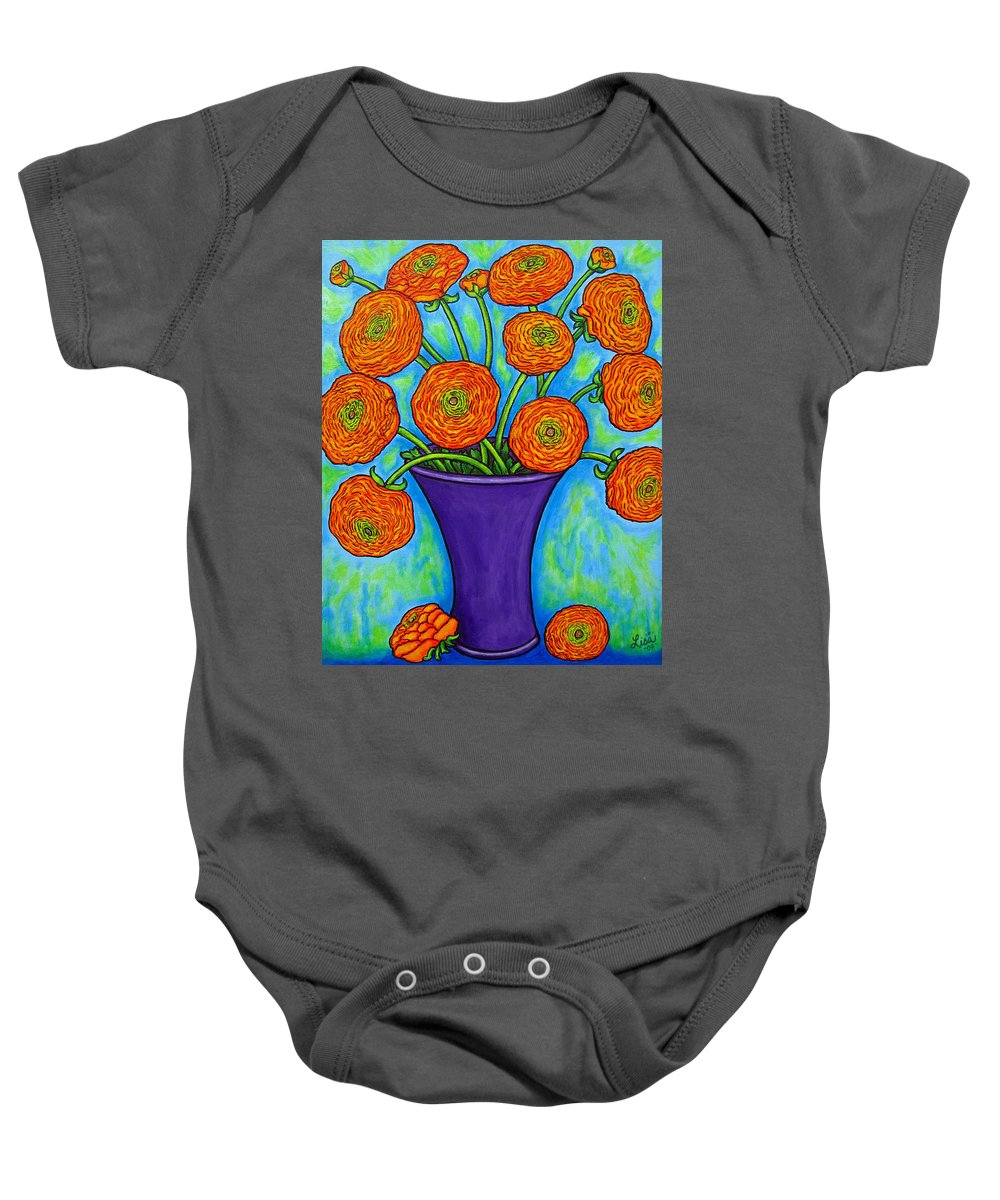 Green Baby Onesie featuring the painting Radiant Ranunculus by Lisa Lorenz