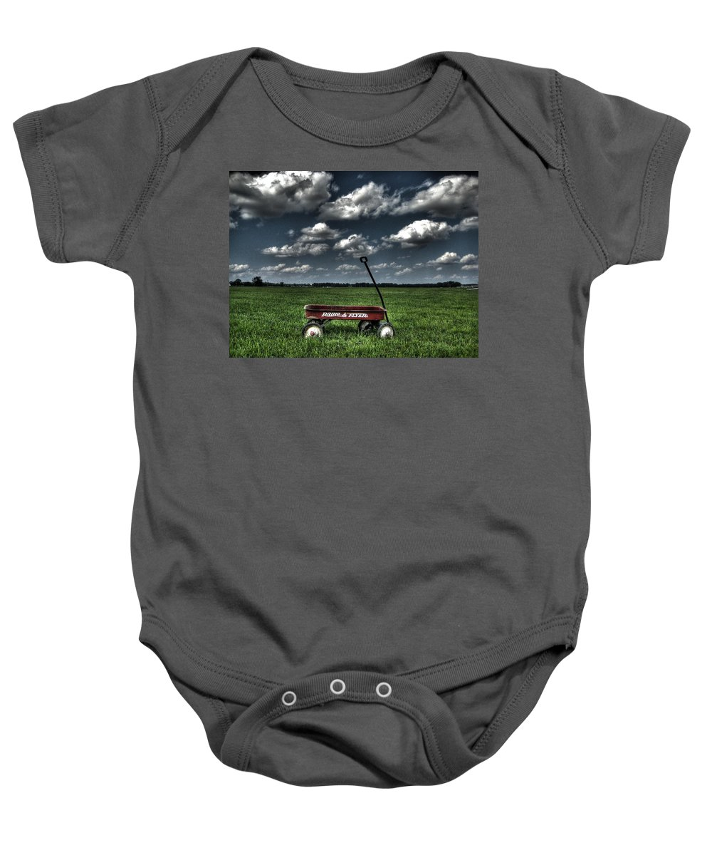 Wagon Baby Onesie featuring the photograph Radio Flyer by Jane Linders