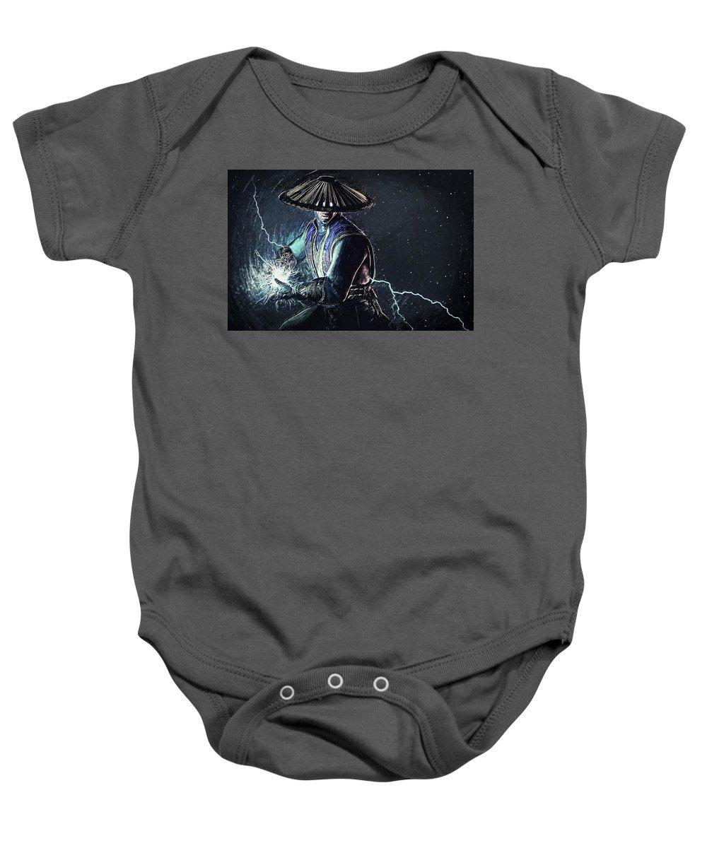 Mortal Kombat X Baby Onesie featuring the digital art Raiden - Mortal Kombat by Zapista