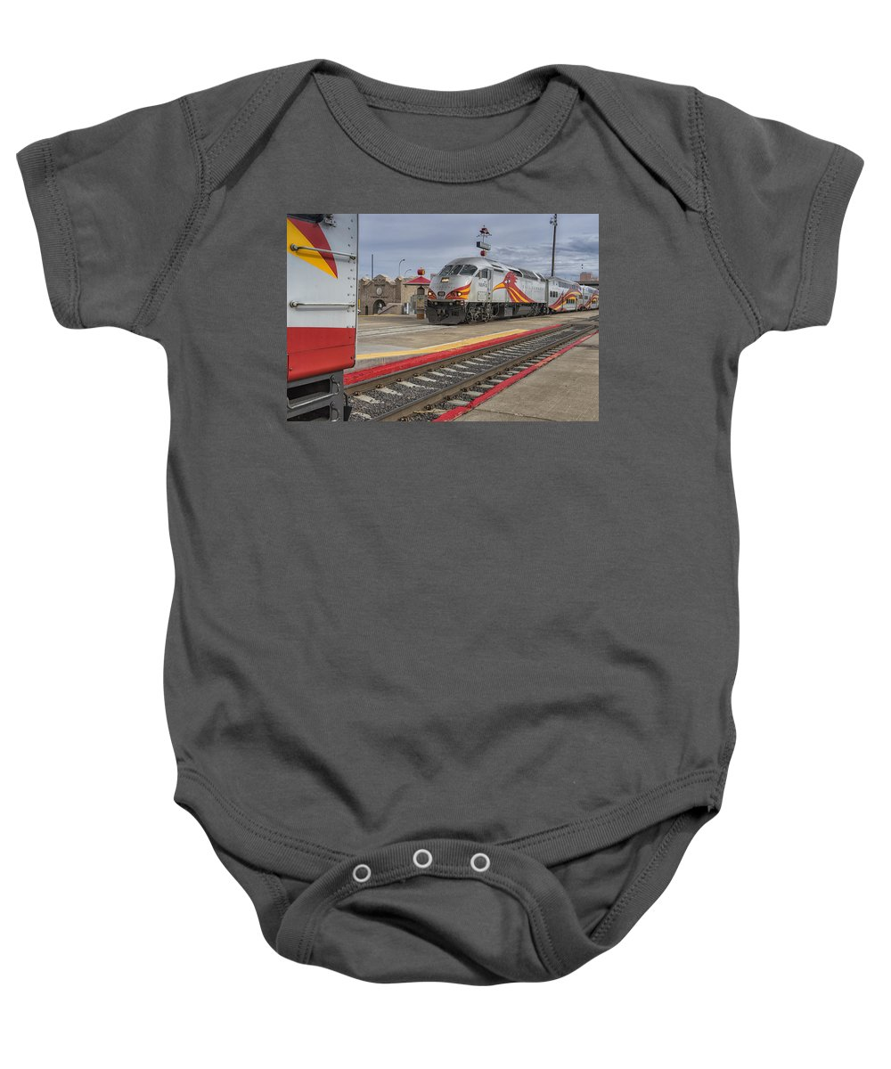 New Mexico Baby Onesie featuring the photograph Rail Runner Train Albuquerque Nm Sc02985 by Greg Kluempers