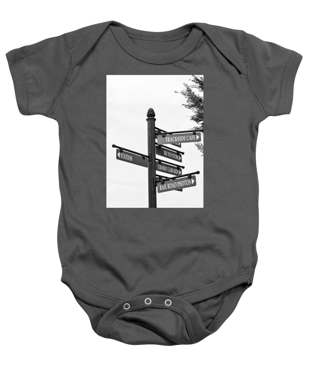 Blackankwhite Baby Onesie featuring the photograph Railroad Directions_bw by Jennifer Wick