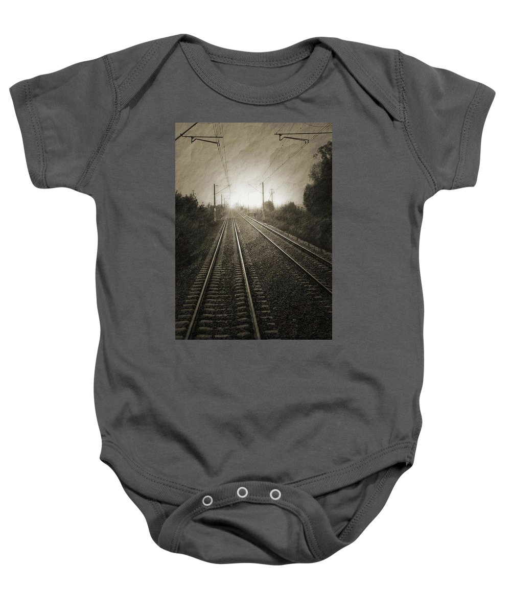 Train Baby Onesie featuring the photograph Rails by Angela Wright