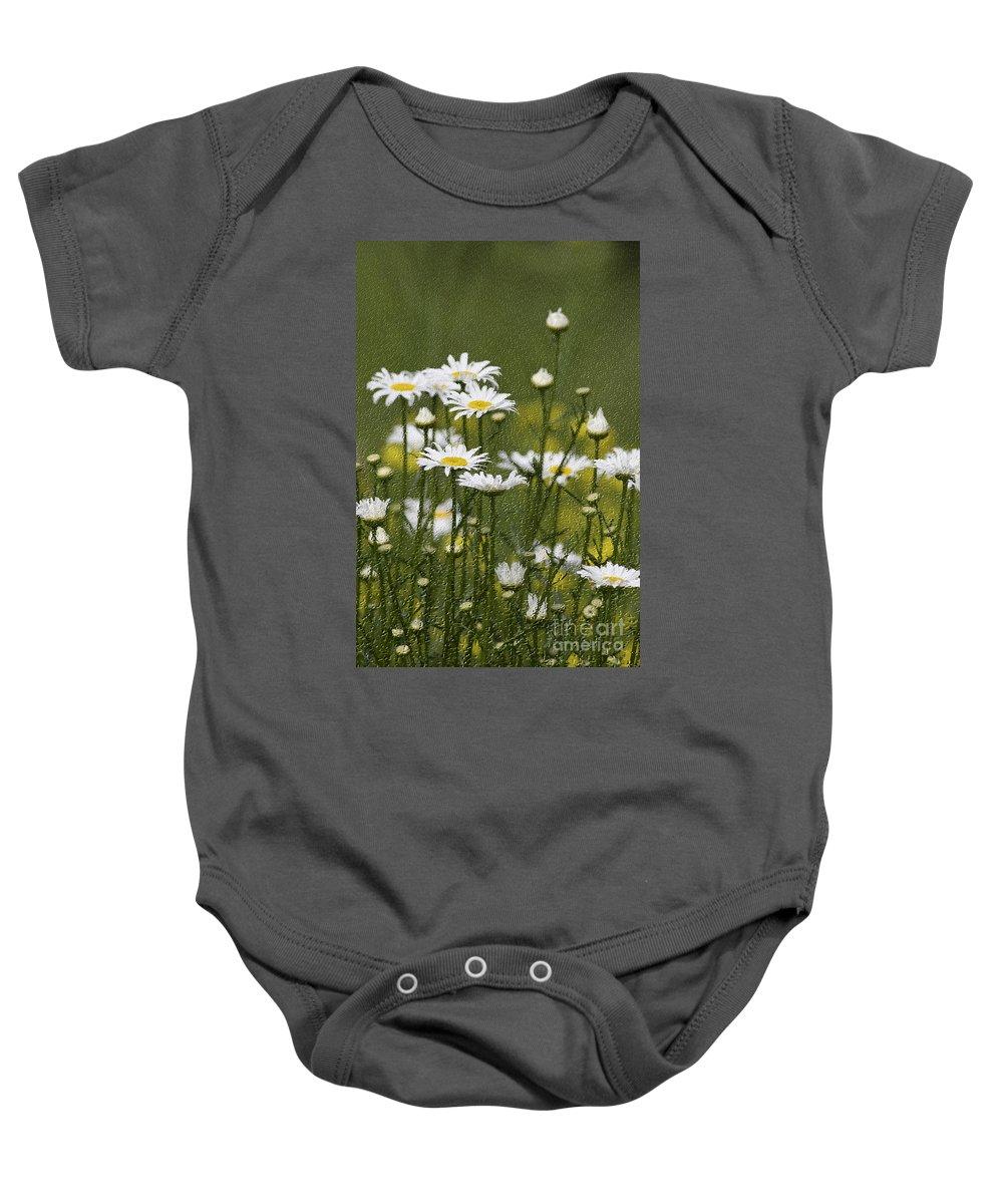 Craquelure Baby Onesie featuring the photograph Rain Drops On Daisies by Deborah Benoit