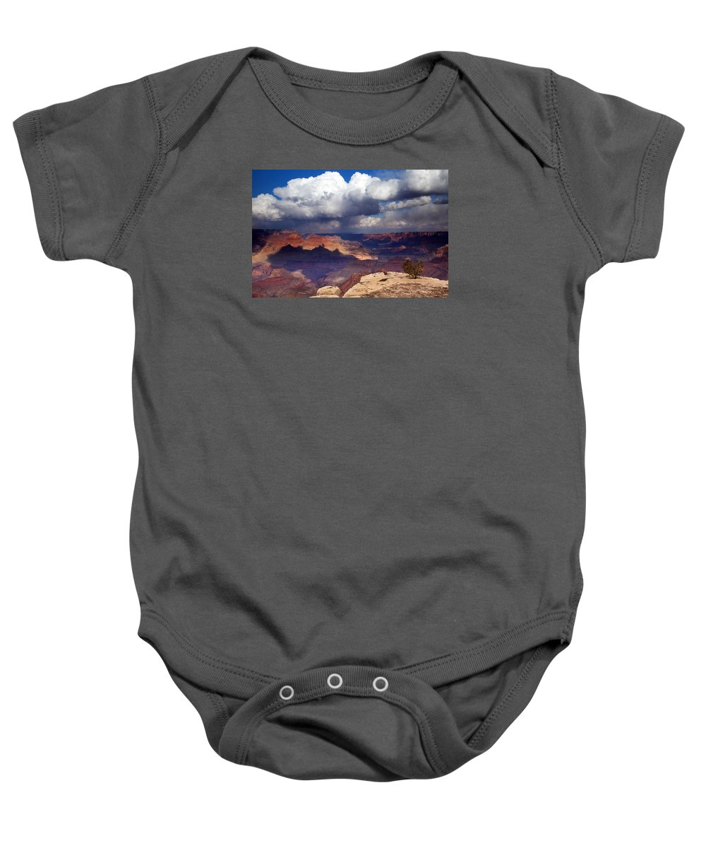 Grand Canyon Baby Onesie featuring the photograph Rain Over The Grand Canyon by Mike Dawson