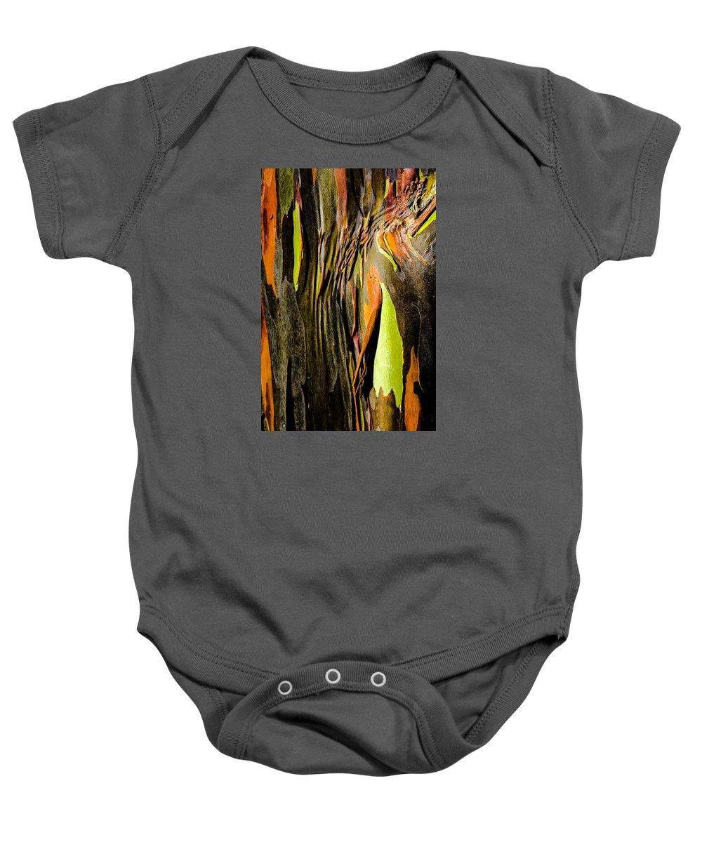 Hawaii Baby Onesie featuring the photograph Rainbow Eucalyptus Bark by Alan Hart