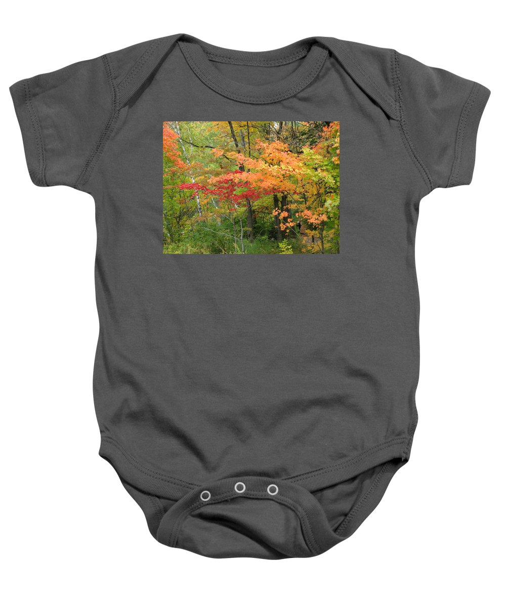 Fall Baby Onesie featuring the photograph Rainbow by Kelly Mezzapelle