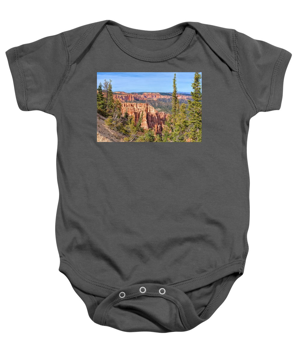 Landscape Baby Onesie featuring the photograph Rainbow Point Overlook by John M Bailey