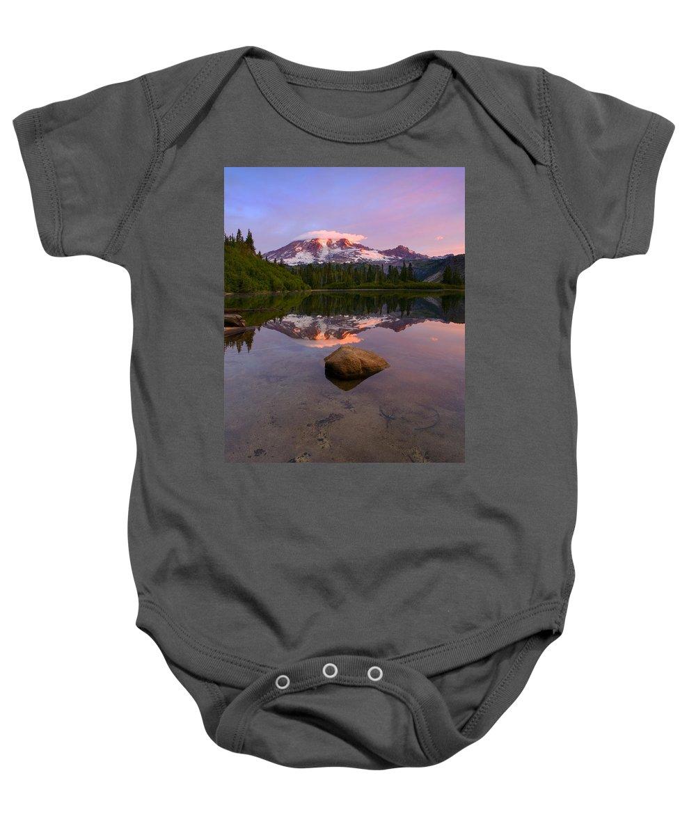 Mt. Rainier Baby Onesie featuring the photograph Rainier Dawn Breaking by Mike Dawson