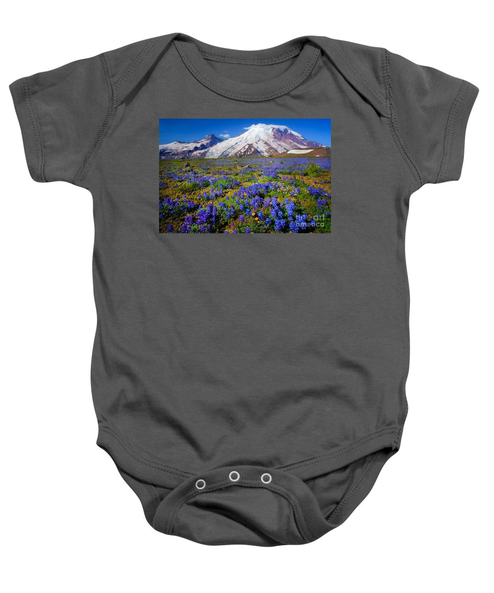 America Baby Onesie featuring the photograph Rainier Lupines by Inge Johnsson