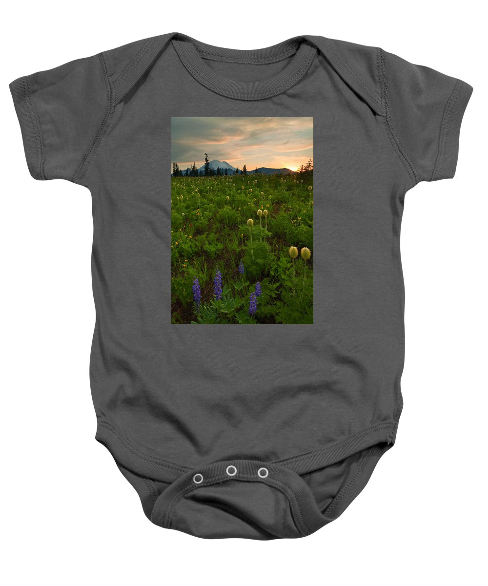 Meadow Baby Onesie featuring the photograph Rainier Wildflower Light by Mike Dawson