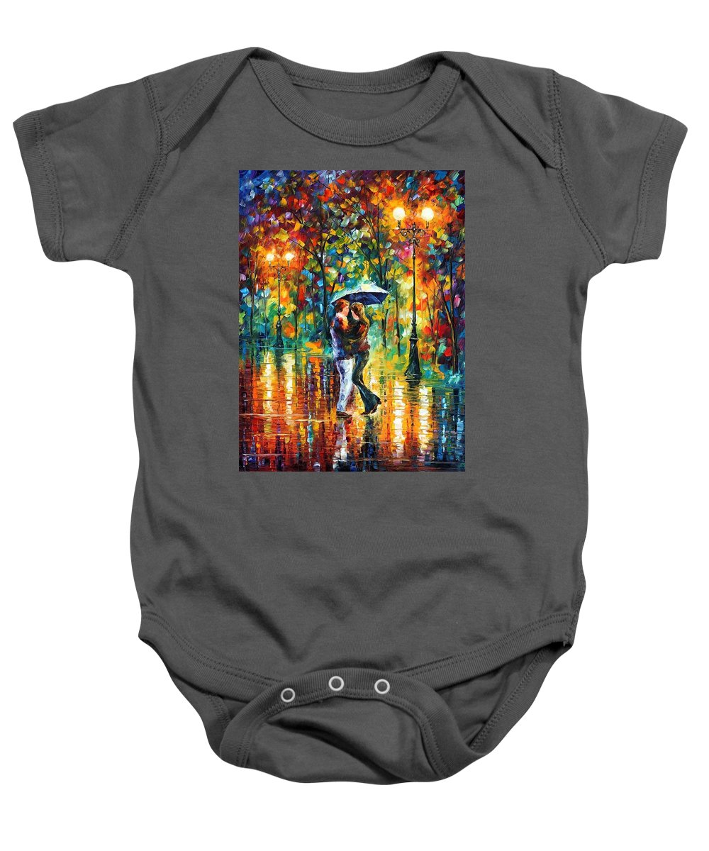 Afremov Baby Onesie featuring the painting Rainy Dance by Leonid Afremov