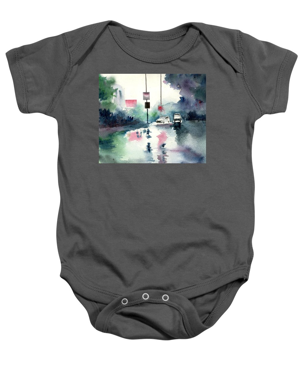 Nature Baby Onesie featuring the painting Rainy Day by Anil Nene