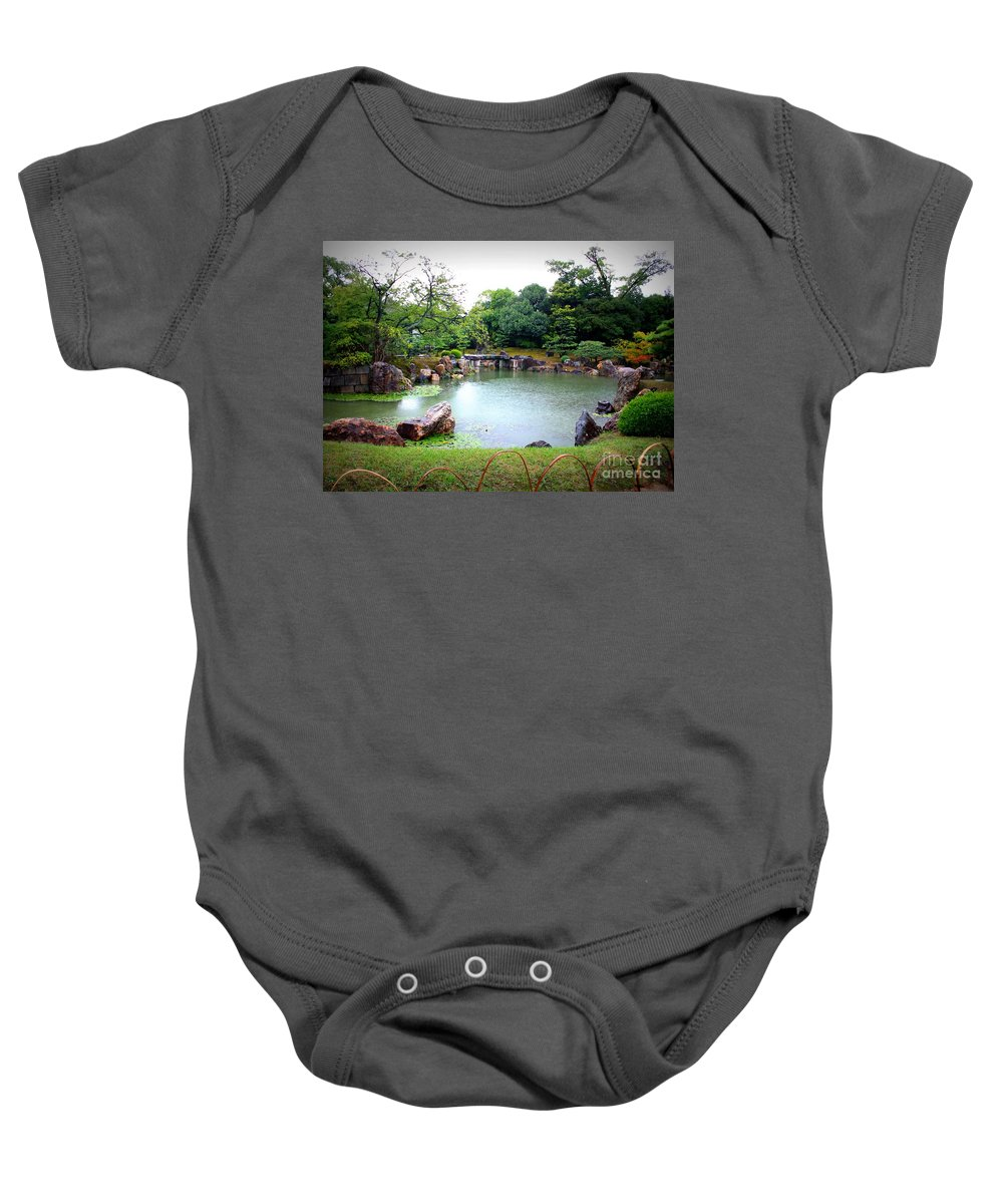 Japan Baby Onesie featuring the photograph Rainy Day In Kyoto Palace Garden by Carol Groenen
