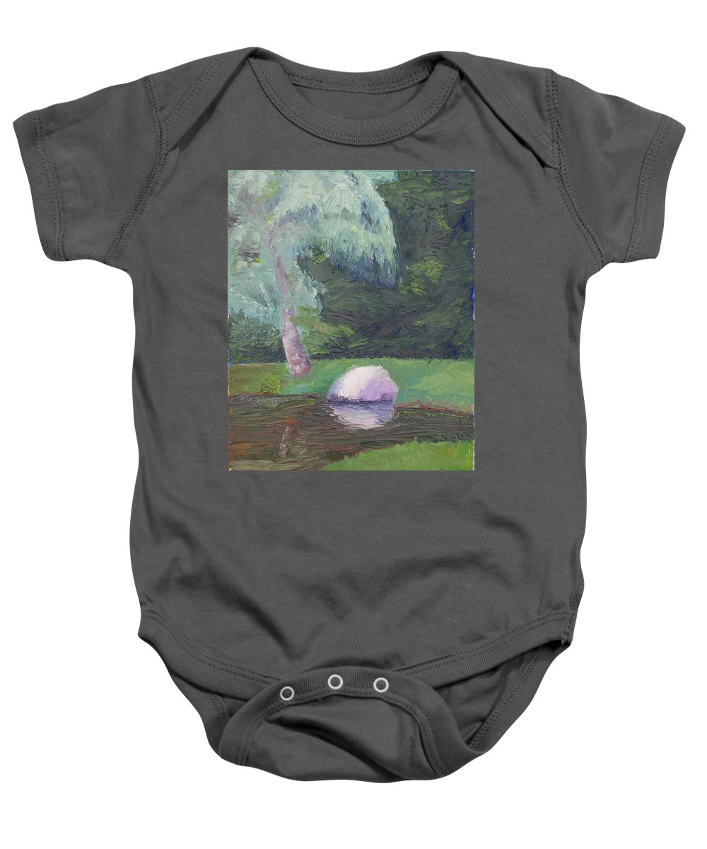 Landscape Painting Baby Onesie featuring the painting Rainy Day by Lea Novak