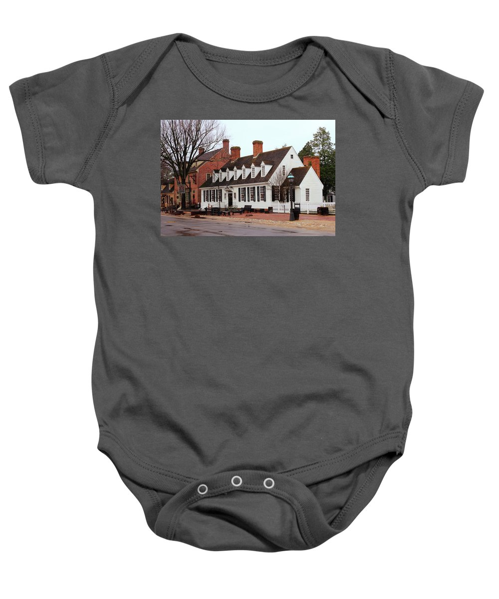 American Baby Onesie featuring the photograph Raleigh Tavern 2 by Lou Ford