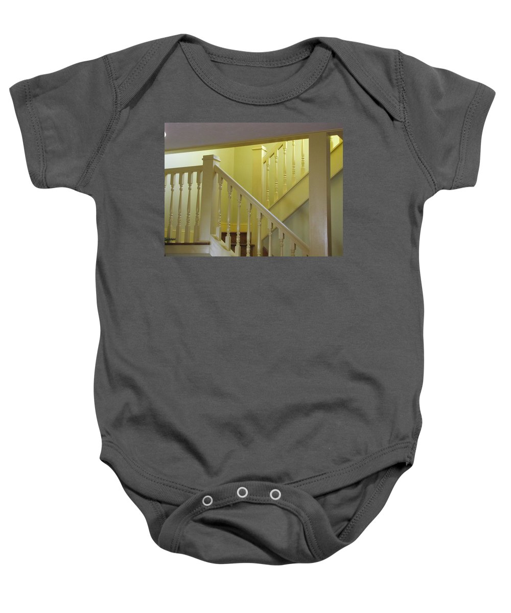 Stairs Baby Onesie featuring the photograph Ralphie's Staircase by Kelly Mezzapelle