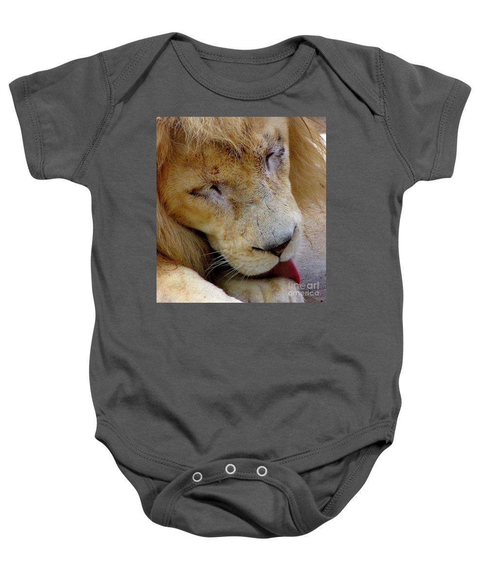 Lion Baby Onesie featuring the photograph Ramses by Lori Pessin Lafargue