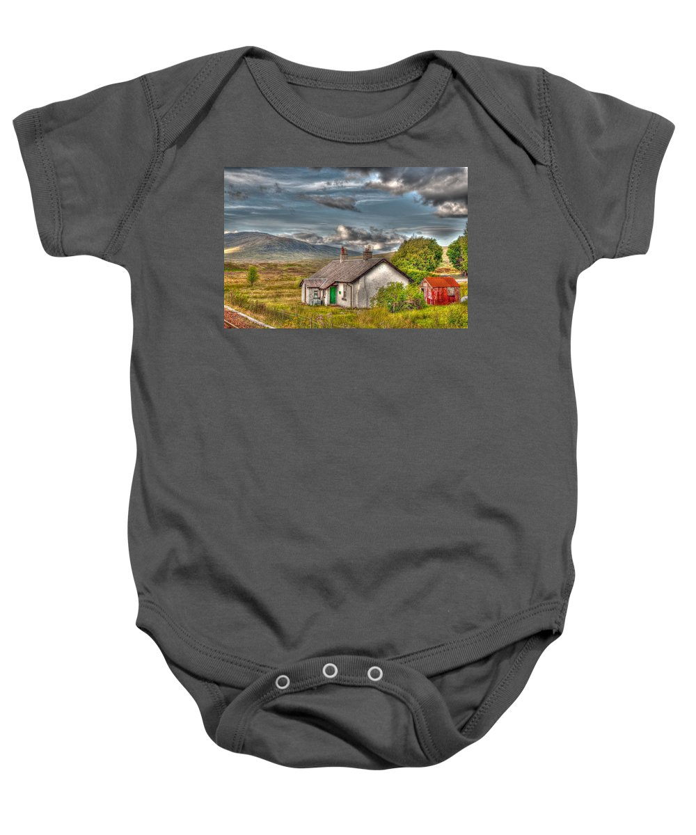 Rannoch Baby Onesie featuring the photograph Rannoch Railway Station View by Chris Thaxter