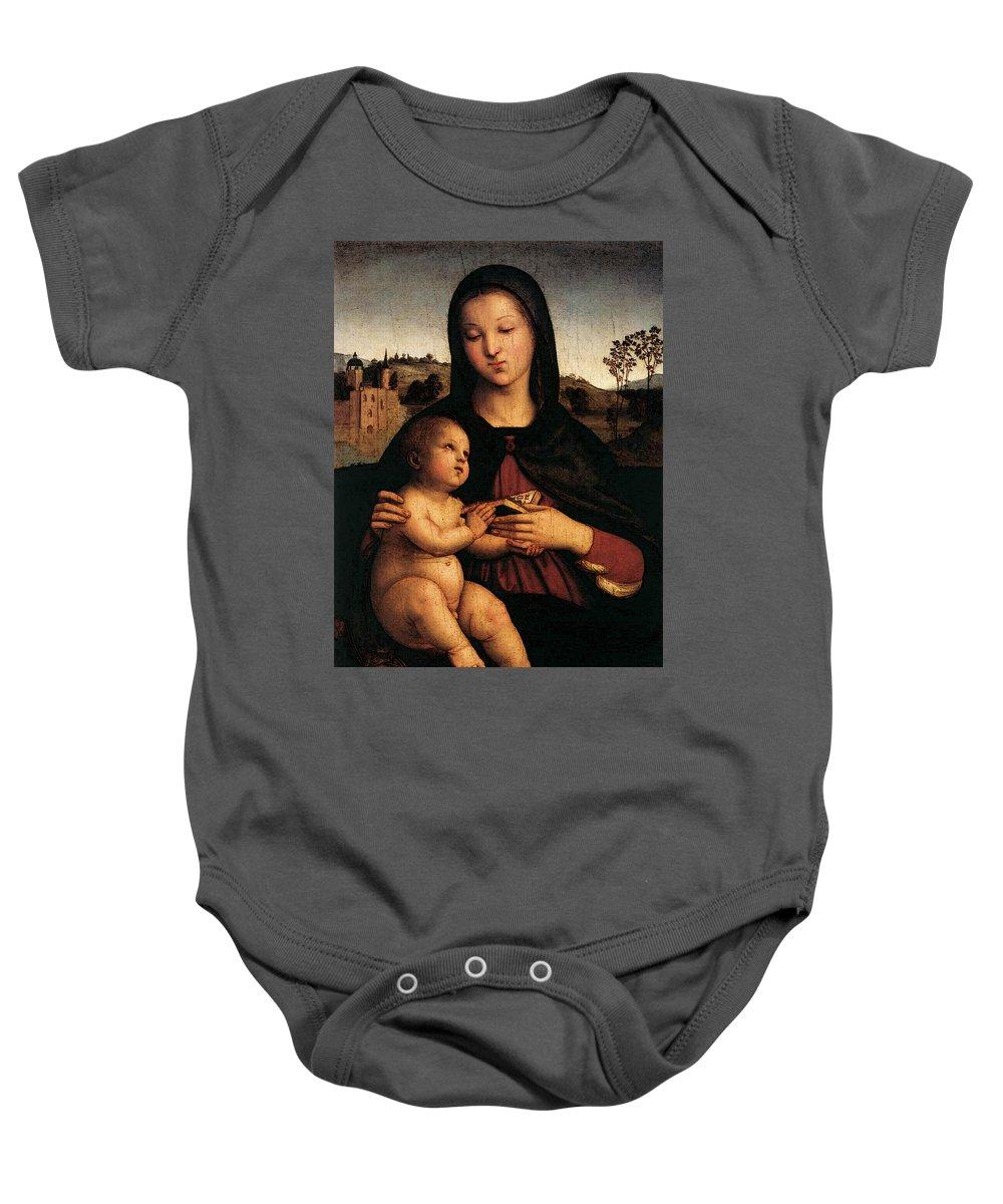 Raphael Madonna And Child C Baby Onesie featuring the digital art Raphael Madonna And Child C by PixBreak Art