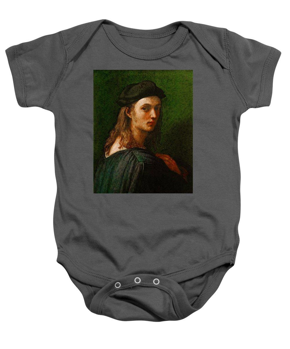 Raphael Portrait Of Bindo Altoviti Baby Onesie featuring the digital art Raphael Portrait Of Bindo Altoviti by PixBreak Art