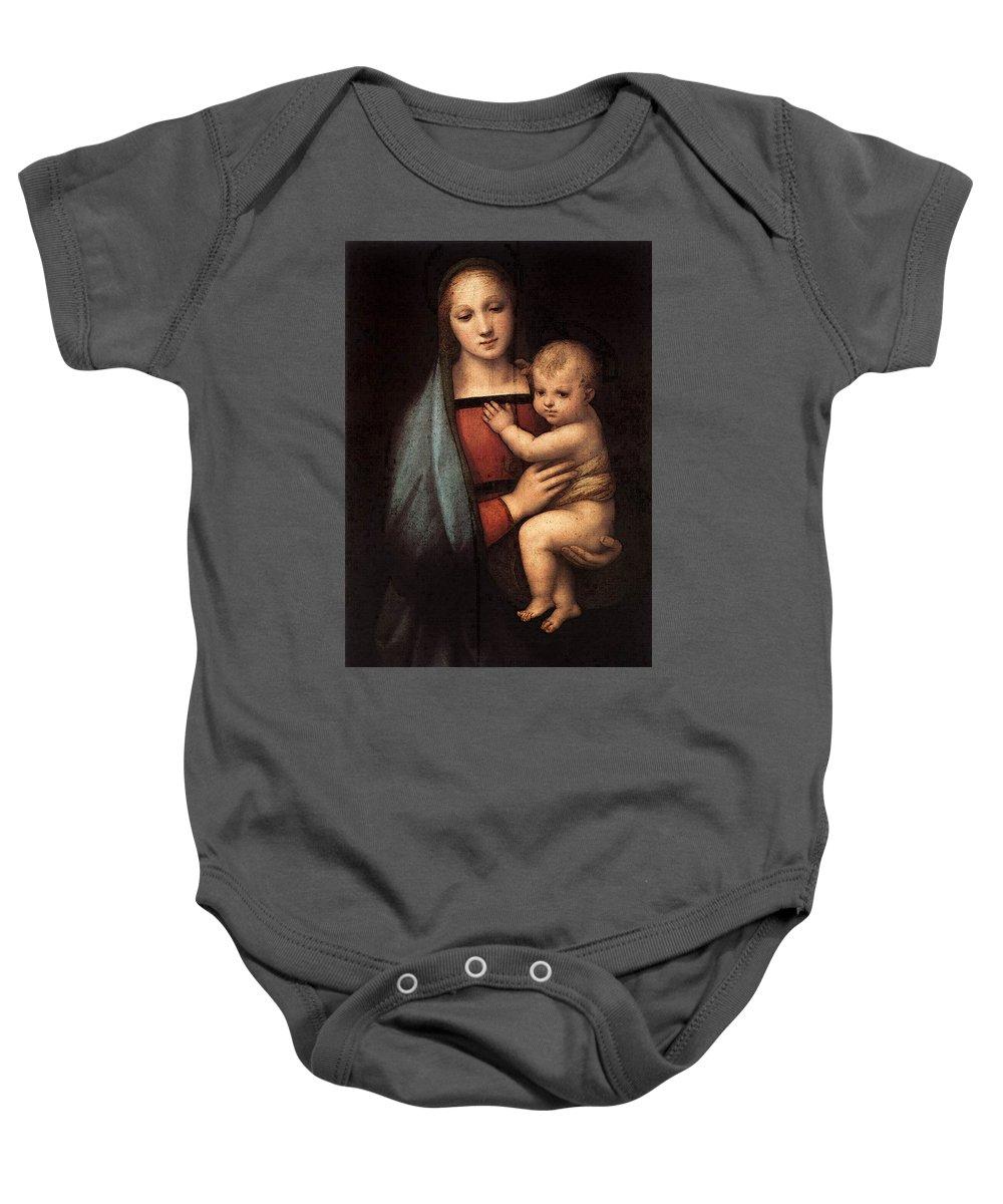 Raphael The Granduca Madonna Baby Onesie featuring the digital art Raphael The Granduca Madonna by PixBreak Art
