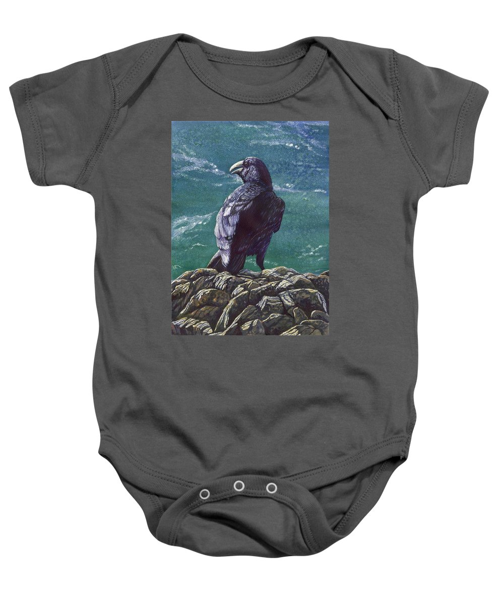 Bird Baby Onesie featuring the painting Raven by Catherine G McElroy
